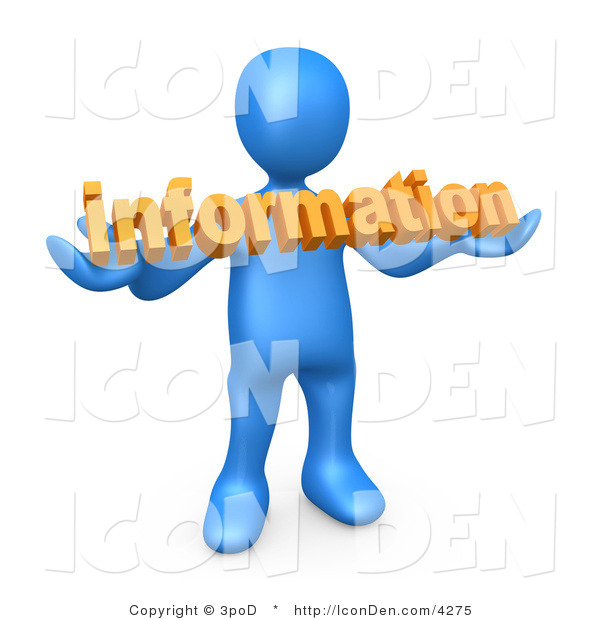 Clip Art of a Blue Person Carrying Orange Internet Text Reading Information