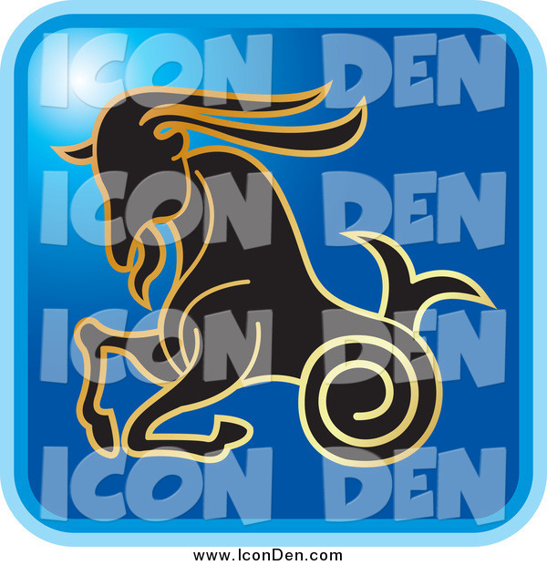 Clip Art of a Blue Square Capricorn Astrology Icon Design