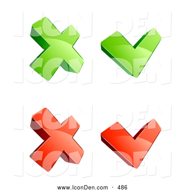 Clip Art of a Bright Set of Four Green and Red X and Check Mark Icons, on a White Background
