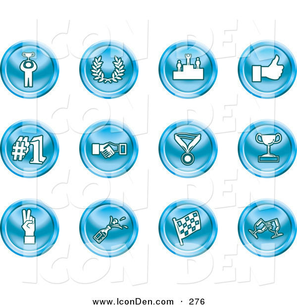 Clip Art of a Collection of 12 Blue Icons of a Winner, Laurel, Victory, Thumbs Up, Number 1, Handshake, Medal, Trophy, Champagne, Racing Flag and Wine