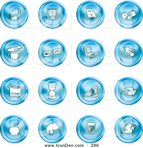 Clip Art of a Collection of 16 Blue Icons of an Arrow, Floppy Disc, Padlock, Mail, Coffee, Link, Laptop, Printer, Shopping Cart, Hourglass, Computer, Email, Apple, House, Camera and Globe