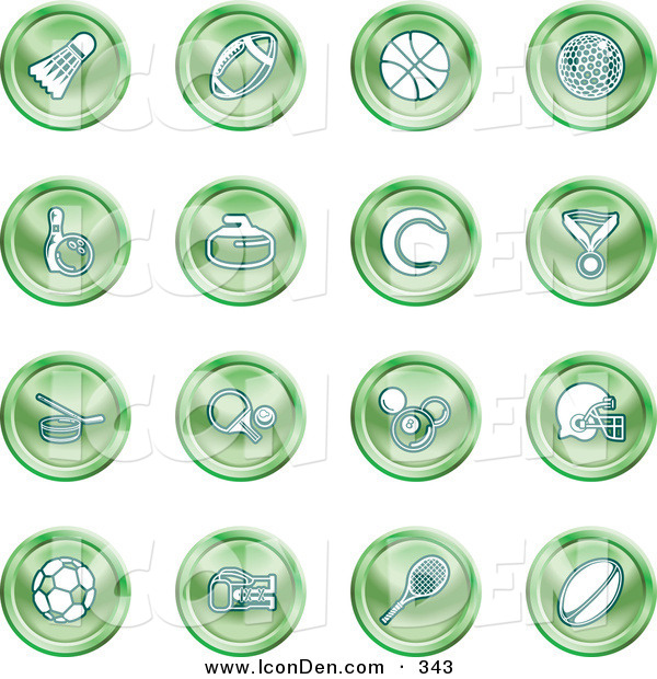 Clip Art of a Collection of 16 Green Athletics Icons of a Badmitten Shuttlecock, Football, Basketball, Golf Ball, Bowling, Curling Stone, Tennis, Medal, Hockey, Ping Pong, Billiards, Football Helmet, Soccer Ball, Boxing, and Rugby