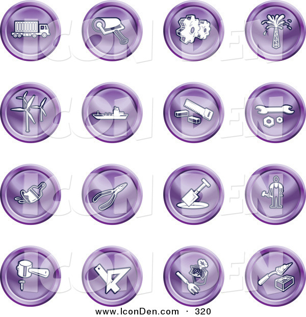 Clip Art of a Collection of 16 Purple Icons of a Big Rig, Paint Roller, Cogs, Oil, Turbines, Ship, Saw, Wrench, Pliers, Shovel, Hammer, Gardening and Brick Laying