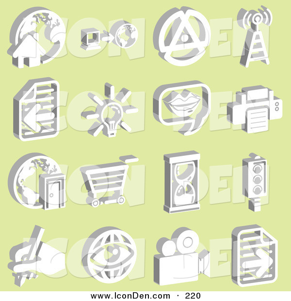 Clip Art of a Collection of 16 White Icons on Yellow