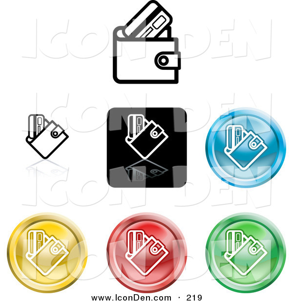 Clip Art of a Collection of 7 Different Colored Wallet Icon Buttons