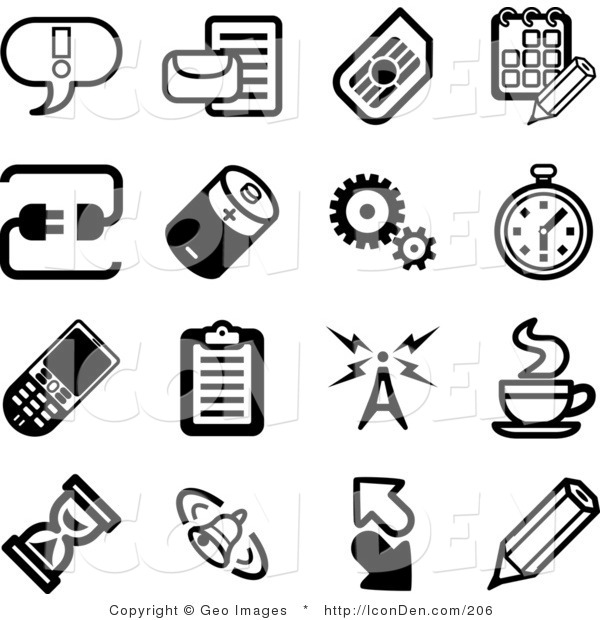 Clip Art of a Collection of Black and White Icons on a White Background
