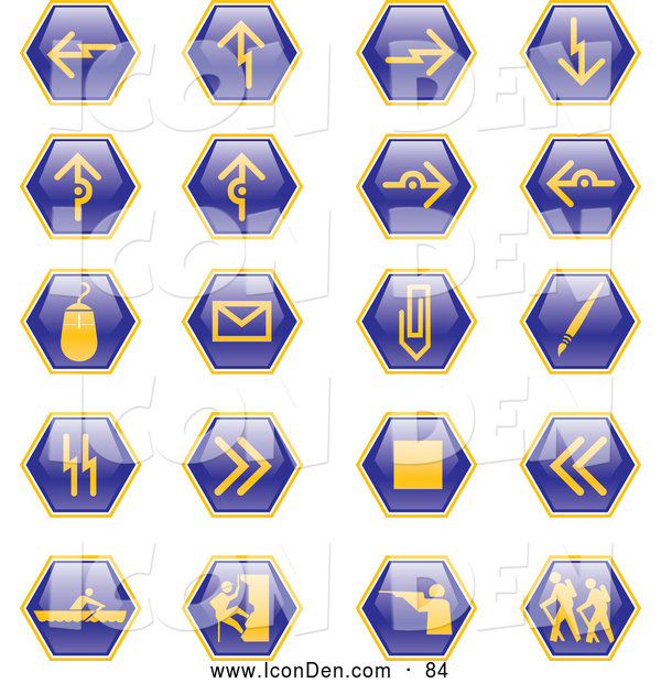 Clip Art of a Collection of Blue Hiking, Hunting, Climbing, Rowing, and Computer Web Design Hexagon Icons on a White Background