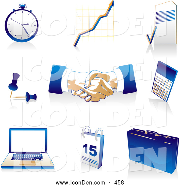 Clip Art of a Collection of Blue, Tan and White Pocketwatch, Graph, Letter, Push Pins, Handshakes, Calculator, Laptop Computer, Calendar and Briefcase Icons Badges, over White