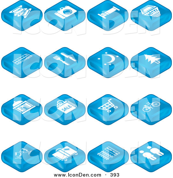 Clip Art of a Collection of Blue Tile Tablet Icons of Tickets, Camera, Bed, Hotel, Bus, Diner, Moon, Tree, Building, Shopping, Bicycles, Wine, Luggage, Railroads and Roads and Restrooms