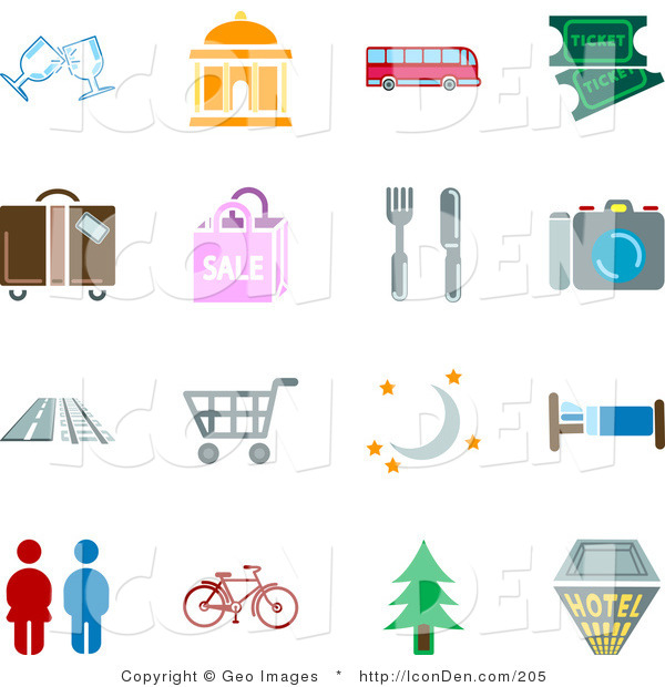 Clip Art of a Collection of Color Travel Icons on a White Background