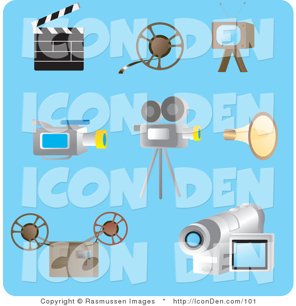 Clip Art of a Collection of Eight Filming Picture Icons on a Blue Background