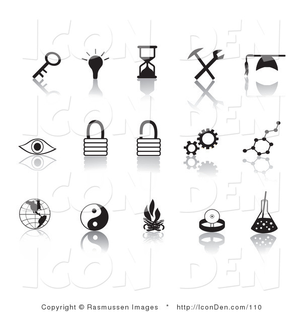 Clip Art of a Collection of Fifteen Black Random Icons on a Reflective Solid White Background