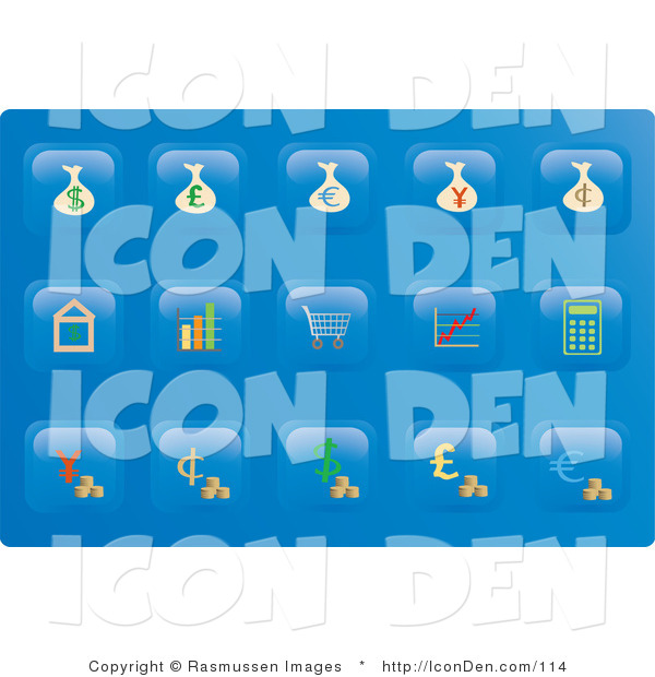 Clip Art of a Collection of Fifteen Financial Button Icons on a Blue Background