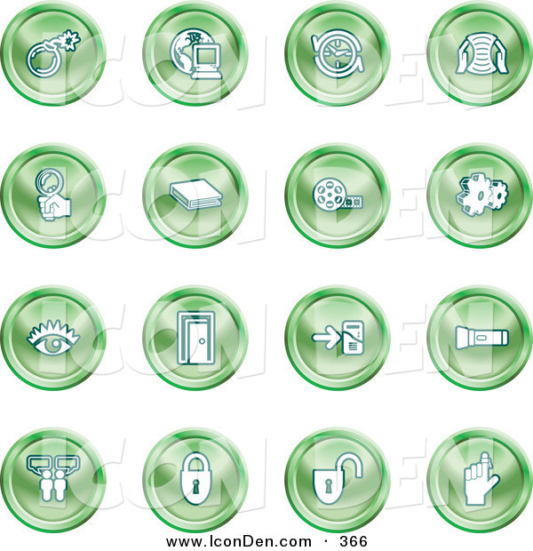 Clip Art of a Collection of Green Coin Icons of a Bomb, Computer, Letter, Magnifying Glass, Book, Film, Cogs, Eye, Door, Flashlight, Messenger, Padlocks and Reminder