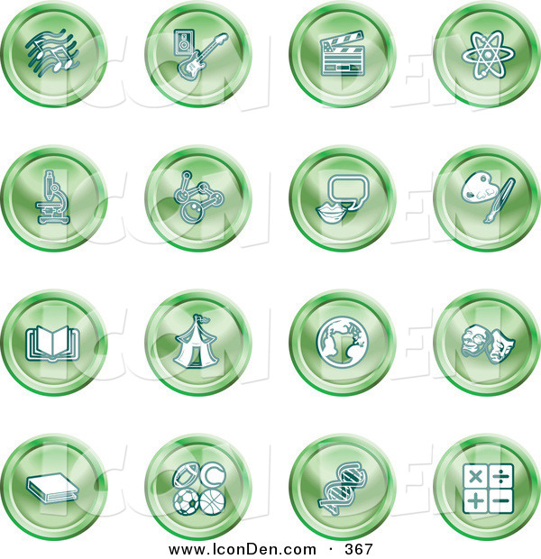 Clip Art of a Collection of Green Coin Shaped Icons of Music Notes, Guitar, Clapperboard, Atom, Microscope, Atoms, Messenger, Painting, Book, Circus Tent, Globe, Masks, Sports Balls, and Math