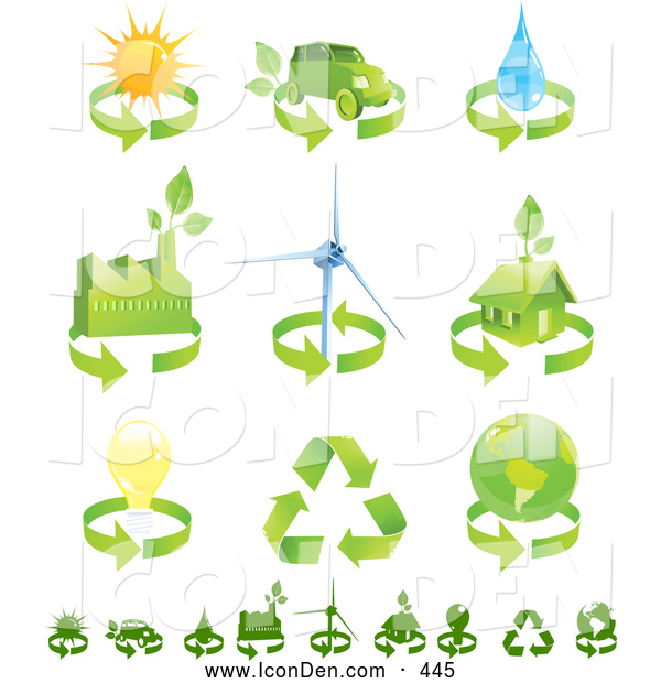 Clip Art of a Collection of Green Energy Icons over White