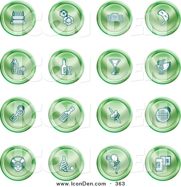 Clip Art of a Collection of Green Gleaming Icons of Gifts, Radio, Mask, Alcohol, Kebobs, Disco Ball, Clown, Party Hats, Balloons and Beer