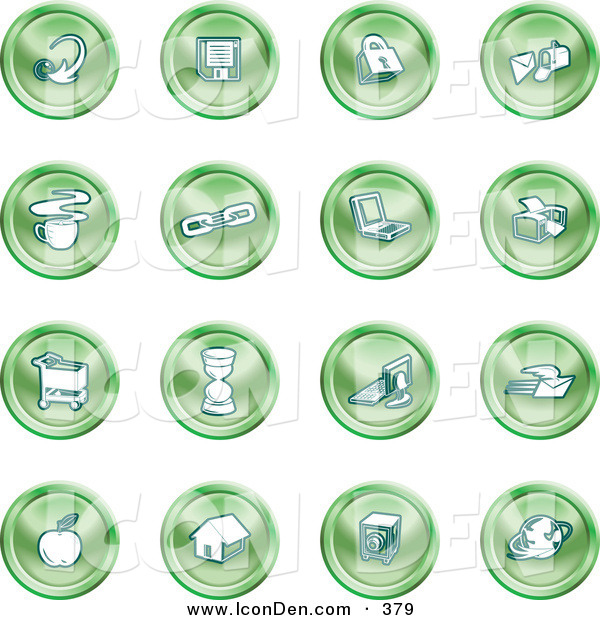 Clip Art of a Collection of Green House Icons