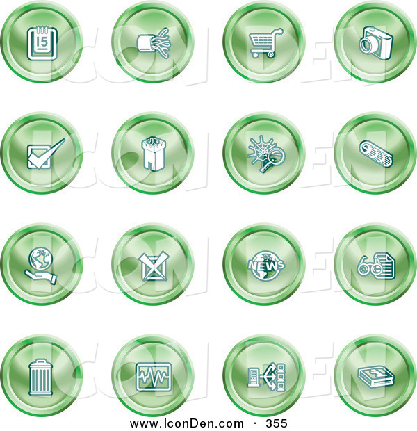 Clip Art of a Collection of Green Planning Icons