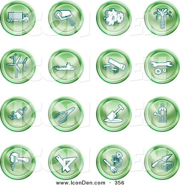 Clip Art of a Collection of Green Work Icons
