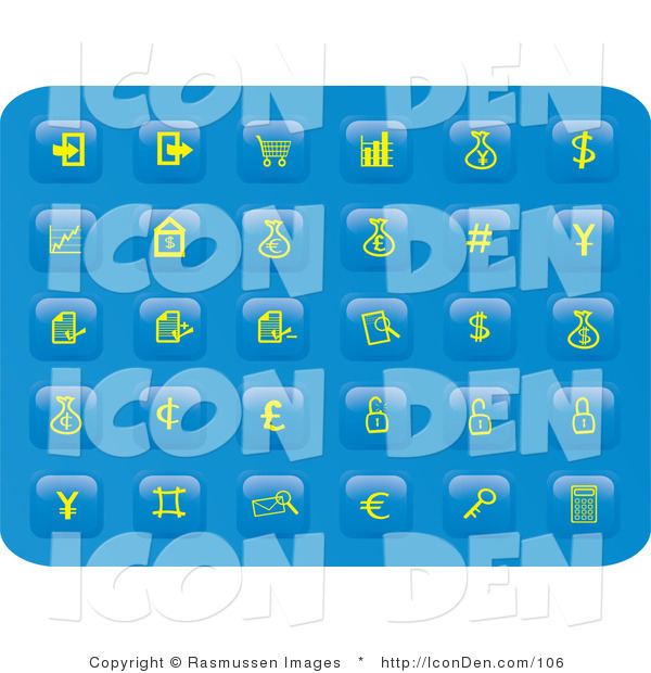 Clip Art of a Collection of Many Yellow Finance Button Icons on a Blue Background