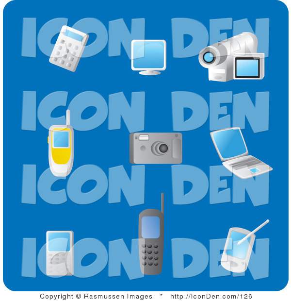 Clip Art of a Collection of Nine Gadget Picture Icons on a Solid Blue Background