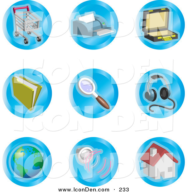 Clip Art of a Collection of Nine Shopping Cart, Printer, Briefcase, File, Magnifying Glass, Headphones, Globe, Speakers and Home Color Icons on a White Background