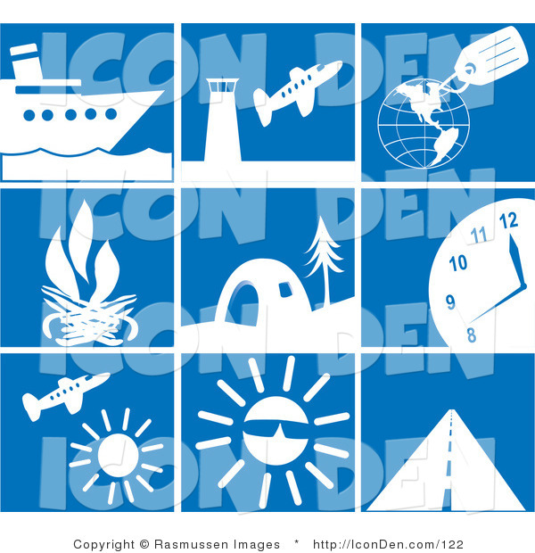 Clip Art of a Collection of Nine White Travel Picture Icons on a Tiled Blue Background