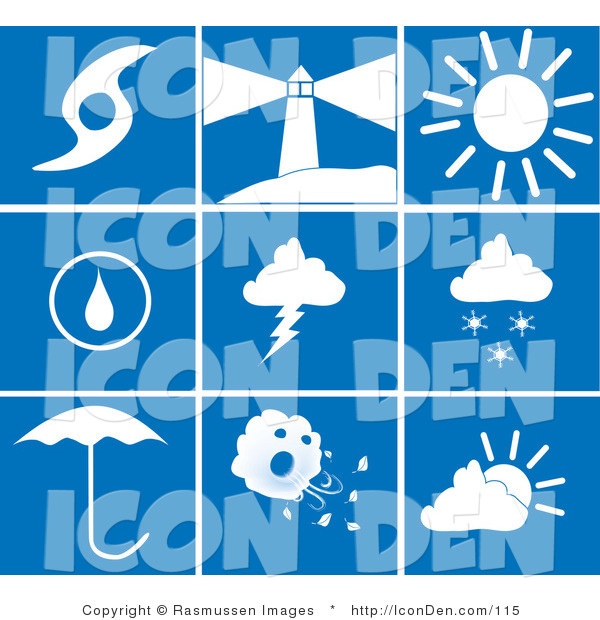 Clip Art of a Collection of Nine White Weather Picture Icons on a Blue Tile Background