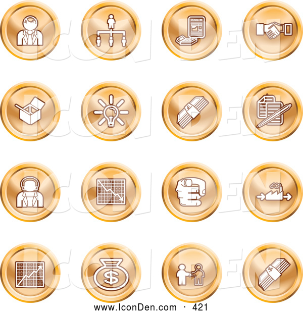 Clip Art of a Collection of Orange Coin Business Icons of Business People, Management, Hand Shake, Lightbulb, Cash, Charts, and Money Bags