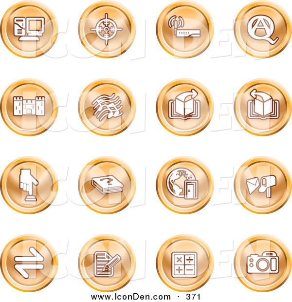 Clip Art of a Collection of Orange Coin Shaped Icons of a Computer, Viewfinder, Wireless, Questions and Answer, Castle, Music, Forward, Back, Www, Mail, Math and Camera