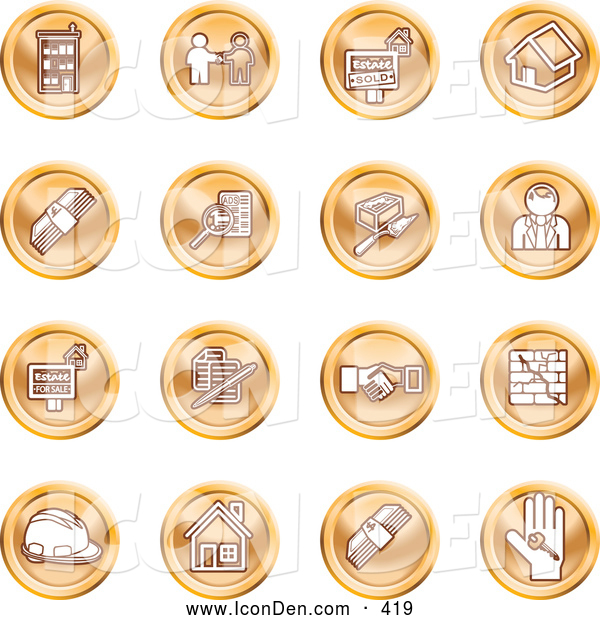 Clip Art of a Collection of Orange Coin Shaped Icons of Apartments, Handshake, Real Estate, House, Money, Classifieds, Brick Laying, Businessman, Hardhat and a Key