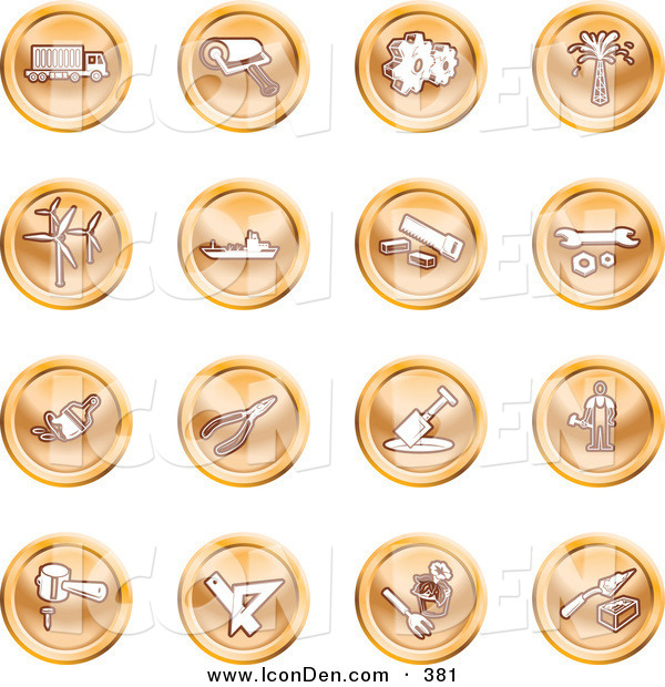Clip Art of a Collection of Orange Fix It Icons