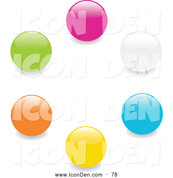 Clip Art of a Collection of Pink, White, Blue, Yellow, Orange and Green Marbles or Toy Balls in a Circle on a White Background