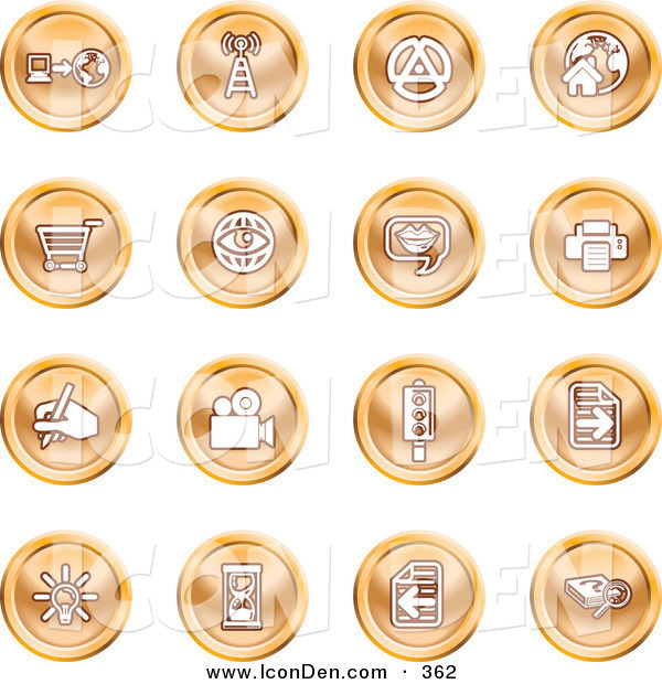 Clip Art of a Collection of Purple Entertainment Icons of Communication, Travel, and Media