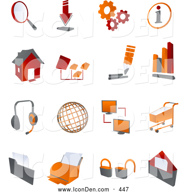 Clip Art of a Collection of Red and Orange Internet Icons - Bar Graph, Office, Web, Privacy, Lock, Security, Settings, Information, Download, Printer on a White Background