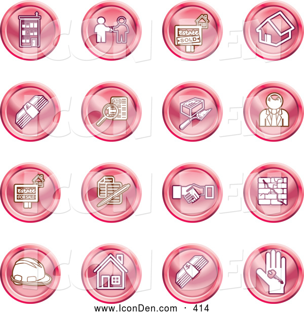 Clip Art of a Collection of Red Coin Shaped Icons of Apartments, Handshake, Real Estate, House, Money, Classifieds, Brick Laying, Businessman, Hardhat and a Key