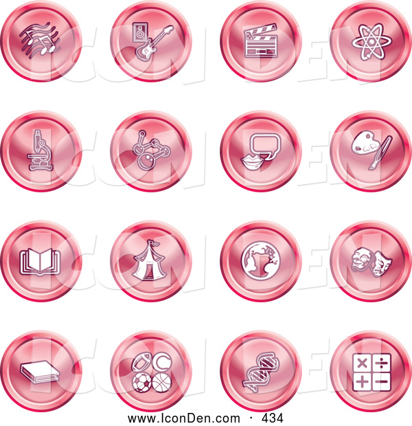 Clip Art of a Collection of Red Coin Shaped Icons of Music Notes, Guitar, Clapperboard, Atom, Microscope, Atoms, Messenger, Painting, Book, Circus Tent, Globe, Masks, Sports Balls, and Math