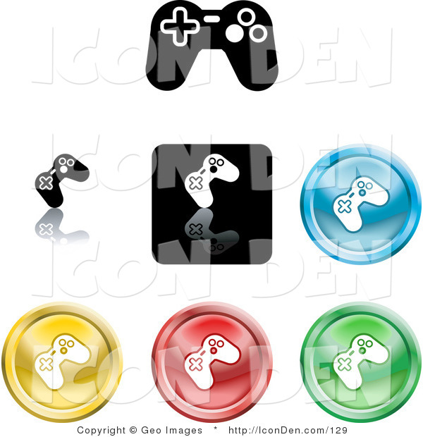 Clip Art of a Collection of Seven Different Colored and Black Video Game Controller Icon Buttons