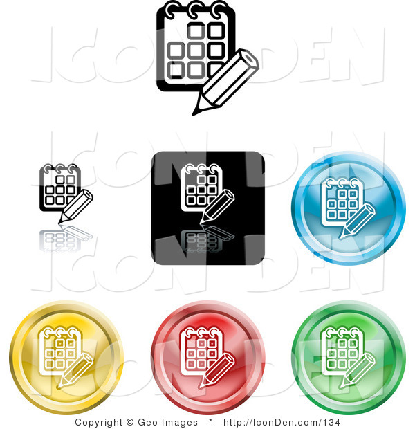 Clip Art of a Collection of Seven Different Colored Day Planner Calendar Icons