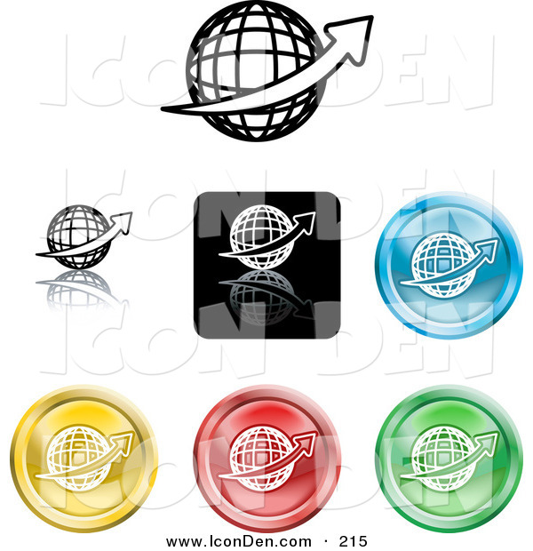 Clip Art of a Collection of Seven Different Colored Globe Icon Buttons on White