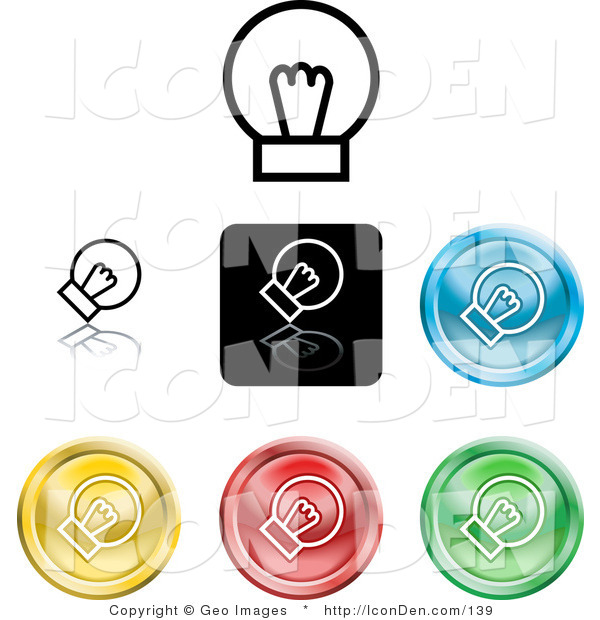 Clip Art of a Collection of Seven Different Colored Light Bulb Icon Buttons on a White Background
