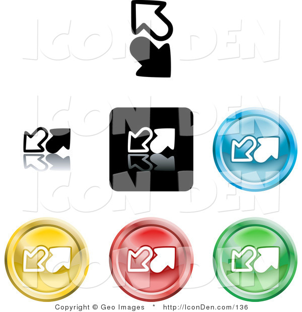 Clip Art of a Collection of Seven Different Colored Upload and Download Icon Buttons on White
