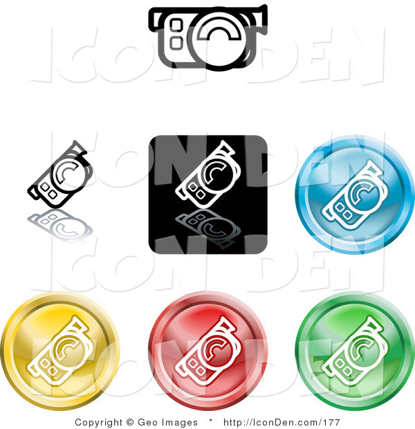 Clip Art of a Collection of Seven Different Colored Video Camera Icon Buttons
