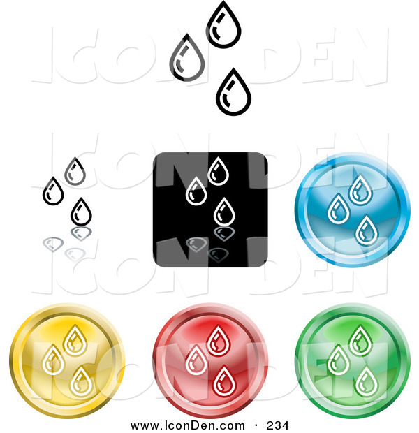 Clip Art of a Collection of Seven Different Colored Water Droplet Icon Buttons