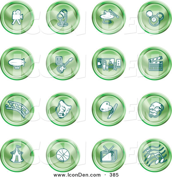 Clip Art of a Collection of Shining Green Circular Entertainment Icons of a Video Camera, Microphone, Magic Trick, Billiards, Blimp, Electric Guitar, Museum, Clapboard