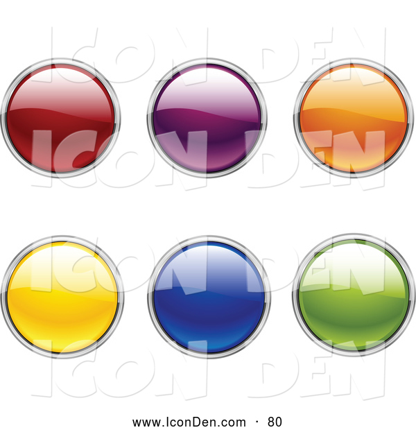 Clip Art of a Collection of Six Green, Blue, Yellow, Orange, Purple and Red Circular Web Buttons on a White Background