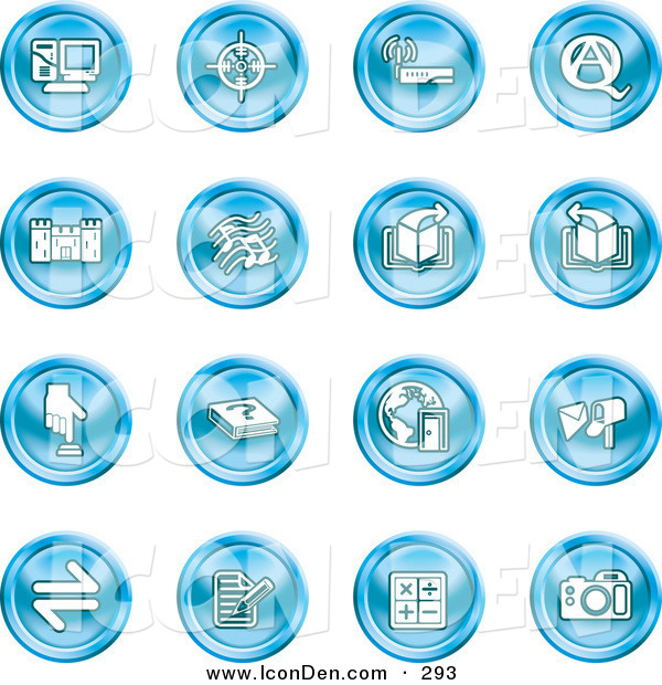 Clip Art of a Collection of Sixteen Blue Icons of a Computer, Viewfinder, Wireless, Questions and Answer, Castle, Music, Forward, Back, Www, Mail, Math and Camera