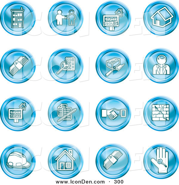 Clip Art of a Collection of Sixteen Blue Icons of Apartments, Handshake, Real Estate, House, Money, Classifieds, Brick Laying, Businessman, Hardhat and a Key