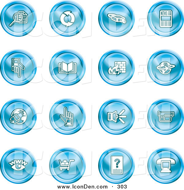 Clip Art of a Collection of Sixteen Blue Icons of Security Symbols on White